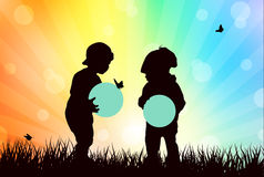 Boy silhouette. Little  boys together Royalty Free Stock Photography
