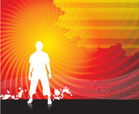 Boy silhouettes. A boy sanding in red wave line background Royalty Free Stock Photography