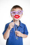 Boy in a silly disguise Stock Images