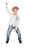 Boy simulate riding Stock Photo