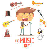 Boy Singer And Musician, Kids Future Dream Professional Occupation Illustration With Related To Profession Objects Stock Photography