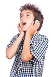 Boy singing Stock Photos