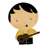 Boy singing with a guitar Royalty Free Stock Image