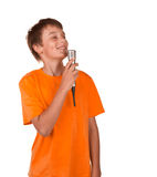 Boy singing karaoke. Isolated on white background Stock Photography