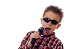 Boy singing loud Royalty Free Stock Image