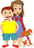 Boy and sister standing together his pet Stock Images