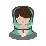 Boy sit in Baby rides module with layette form Royalty Free Stock Photo