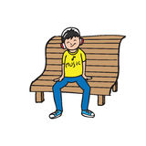 Boy sit on bench listen music Stock Photos