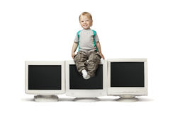 Boy sit on CRT monitor. Isolate on white Royalty Free Stock Images