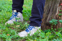 Boy sit in the forest Royalty Free Stock Photography