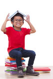Boy sit and holding Stock Photo
