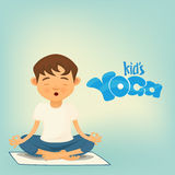 Boy siting in lotus pose. Kids yoga concept Stock Images