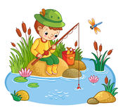 The boy sits and catches fish in a pond. The boy sits on a rock and catches fish in a pond. Vector illustration of a cartoon style with nature Royalty Free Stock Image