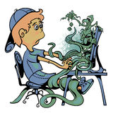 The boy sits at the computer. Monitor crawling with monsters and game characters. On a white background Stock Photos
