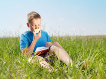 Summer portrait of the boy. The boy sits on a grass and eats a green apple stock images