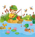 The boy sits on a rock. The boy sits on a rock and catches fish in a pond. Vector illustration of a cartoon childlike style with a lake and ducks Royalty Free Stock Image