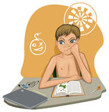 The boy sits at the table and doesn`t want to do homework. In the illustration, the boy is sitting at the table. An open book is befor him. He does not read. He Royalty Free Stock Images