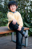 Boy sitting. On a park bench, exposing proud expression Stock Photography