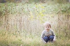 Boy sitting in autumn field Royalty Free Stock Photos