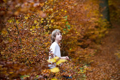 Boy sitting in an autumn park Royalty Free Stock Image
