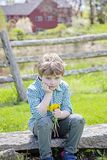 Boy sitting on bench with bouquet of fresh picked flowers. Sad disappointed five year old boy sitting on a rock bench outside with a bouquet of picked yellow stock photo
