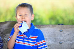 Boy sitting on bench in park eating chocolate Royalty Free Stock Photo
