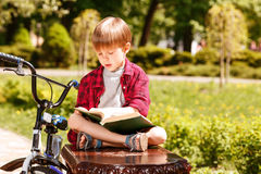 Boy sitting on bench and reading book Royalty Free Stock Image