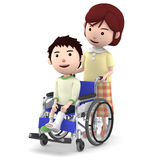 A boy with a cast sitting on a wheelchair and a mother serving ,3D illustration. Boy sitting on a blue seated wheelchair. 3D illustration Royalty Free Stock Image