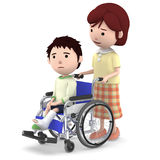 A boy with a cast sitting on a wheelchair and a mother serving ,3D illustration. Boy sitting on a blue seated wheelchair. 3D illustration Royalty Free Stock Photos