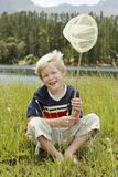 Boy Sitting Butterfly Net Stock Photos