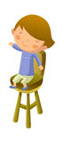 Boy sitting on chair. A Boy is sitting on chair Royalty Free Stock Photo