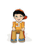 Exam Boy Sitting. Examination Boy Sitting on a Chair, Smiling, age of 5 - 8 years, in position with your back straight, hands on his knees lie quietly, preschool royalty free illustration