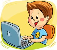 A boy sitting at the computer. Vector illustration. Stock Images