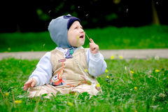 Boy sitting among dandelions. Baby boy sitting in green grass in spring royalty free stock photos