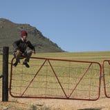 Boy sitting on a farm gate Royalty Free Stock Photography