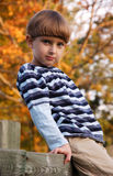 Boy sitting on the fence. Boy 6-7 years old sitting on the fence Stock Photos