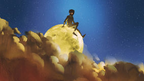 Boy sitting on the glowing moon behind clouds in night sky. Young boy sitting on the glowing moon behind clouds in night sky, digital art style, illustration Royalty Free Stock Image