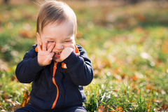 Boy sitting on the grass and hamming Royalty Free Stock Images