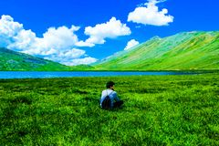 Boy Sitting on Green Grass Field Royalty Free Stock Photos