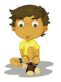 Boy sitting stock illustration