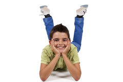Boy sitting isolated Royalty Free Stock Images