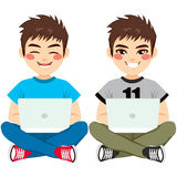 Boy Sitting With Laptop Royalty Free Stock Image