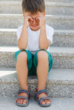 The boy sitting on the stairs in the underpass Stock Photography
