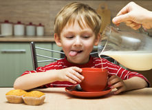 Boy sitting at a table eating breakfast Royalty Free Stock Photos