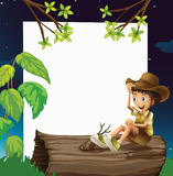 A boy sitting on a trunk. Illustration of a boy sitting on a trunk Royalty Free Stock Image