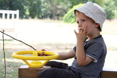 Boy sitting on the wooden car holding driving wheel and branch. Sucking his fingers Stock Images