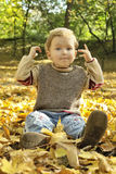 Boy sitting in yellow leaves Royalty Free Stock Images