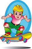 Boy with skateboard. Illustration of child jumping on a skateboard moving at full speed Royalty Free Stock Image