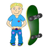 Boy skateboard. Cartoon  illustration  funny Stock Images