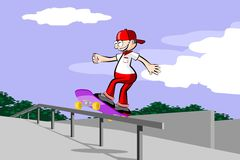 A boy on skateboard Stock Images